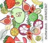 tropical fruit pattern in flat... | Shutterstock .eps vector #1464652367