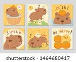 Cute Happy Capybara Together...