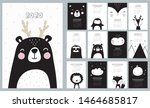 Stock vector  calendar with cute hand drawn animals lion koala hare lion tiger bear panda fox 1464685817