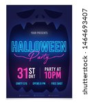halloween party poster. neon... | Shutterstock .eps vector #1464693407