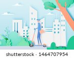man on electric scooter in the... | Shutterstock .eps vector #1464707954