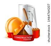 realistic hard hat  blueprint ... | Shutterstock .eps vector #1464764207