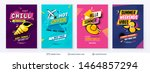 summer ad sale posters in pop... | Shutterstock .eps vector #1464857294