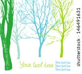 blue and green trees on white... | Shutterstock .eps vector #146491631