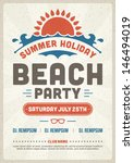 retro summer party design... | Shutterstock .eps vector #146494019