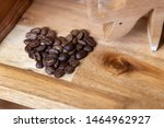 Heart Shaped Coffee Beans On...