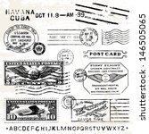 vector retro air mail stamps.... | Shutterstock .eps vector #146505065