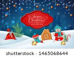 christmas winter scene. vector... | Shutterstock .eps vector #1465068644