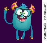 Stock photo funny bigfoot wearing eyeglasses waving illustration of excited monster 1465087604