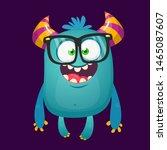 Stock photo funny bigfoot wearing eyeglasses waving illustration of excited monster 1465087607