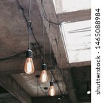 Small photo of Lamps with tungsten filament. Edison light bulb. Filament filament in vintage lamps.