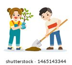 cute kids volunteers planted... | Shutterstock .eps vector #1465143344