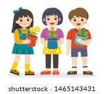 little boy and girls holding... | Shutterstock .eps vector #1465143431