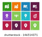 map icons on color background....