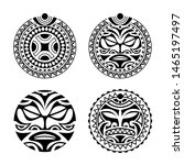 set of round tattoo ornament... | Shutterstock .eps vector #1465197497