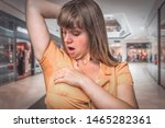 young woman with sweating under ... | Shutterstock . vector #1465282361