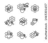 honey labels and elements set.... | Shutterstock .eps vector #1465301657