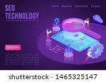 seo technology dark violet neon ... | Shutterstock .eps vector #1465325147