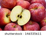 Several Red Apples With Cut...