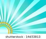 a turquoise sunburst background ... | Shutterstock . vector #14653813