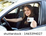 happy student driver sitting in ... | Shutterstock . vector #1465394027