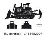 black silhouette of bulldozer.... | Shutterstock . vector #1465402007