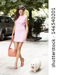 Stock photo fashion woman walking in the street with her dog 146540201