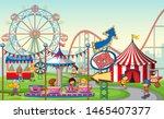 an outdoor funfair scene with... | Shutterstock .eps vector #1465407377