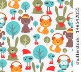 seamless pattern with cute... | Shutterstock .eps vector #146542055