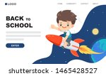 cute boy ride on the rocket in... | Shutterstock .eps vector #1465428527