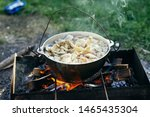 Cooking Food On Nature Picnic...