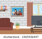 living room with family picture ... | Shutterstock .eps vector #1465436447