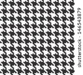 Fully seamless black and white hounds tooth texture in vector format. - stock vector