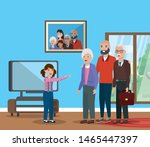 cute family in home together... | Shutterstock .eps vector #1465447397