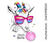 fun goat in a unicorn mask ... | Shutterstock .eps vector #1465498034