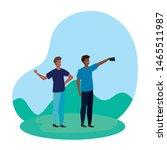 interracial young men friends...   Shutterstock .eps vector #1465511987