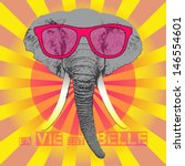 vector animal portrait, elephant in pink glasses, pink life, la vie est belle - stock vector