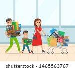 happy family shopping in... | Shutterstock .eps vector #1465563767