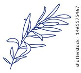 blue mono line art of foliage... | Shutterstock . vector #1465575467