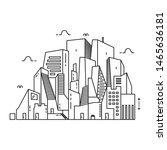 vector of city skyline. thin... | Shutterstock .eps vector #1465636181