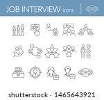 job interview line icon set.... | Shutterstock .eps vector #1465643921