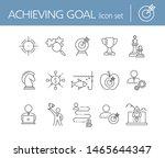 achieving goal icon set. line... | Shutterstock .eps vector #1465644347