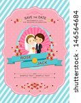 cute blue and pink wedding... | Shutterstock .eps vector #146564684