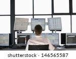 rear view of stock trader... | Shutterstock . vector #146565587