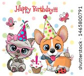 Stock vector birthday card with cute kitten and puppy owls with balloon and bonnets 1465800791