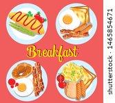 delicious breakfast set ... | Shutterstock .eps vector #1465854671