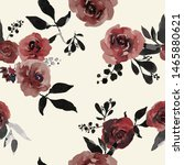 watercolor floral seamless... | Shutterstock . vector #1465880621
