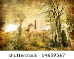 old castle - artistic picture in retro style (more castles in my gallery) - stock photo