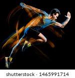 one caucasian runner running... | Shutterstock . vector #1465991714
