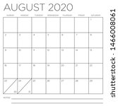 month of august 2020 square... | Shutterstock .eps vector #1466008061
